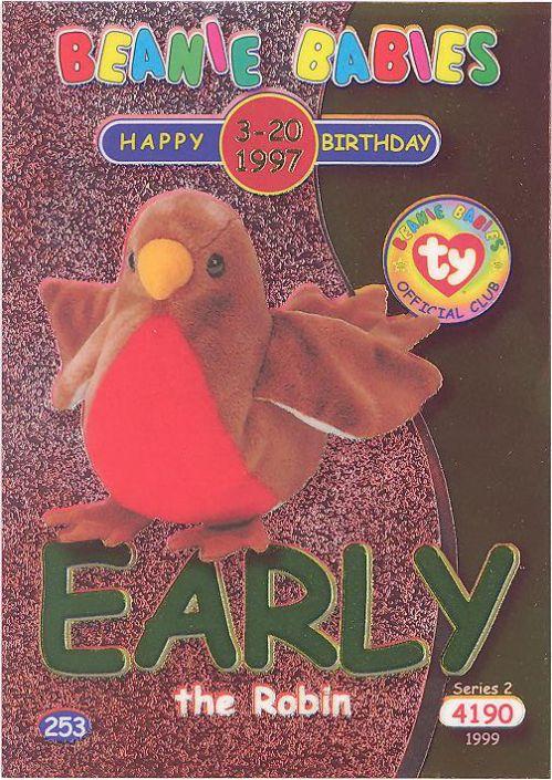 c92e91641a3 TY Beanie Babies BBOC Card - Series 2 Birthday (GREEN) - EARLY the Robin   BBToyStore.com - Toys