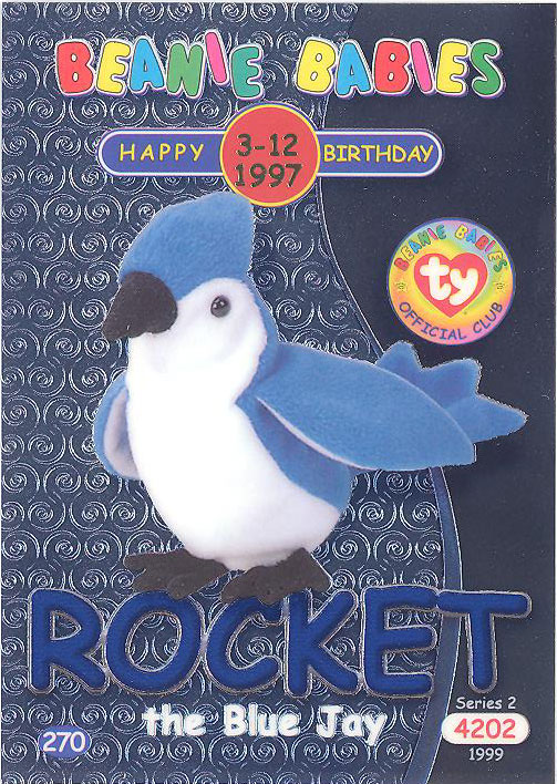 TY Beanie Babies BBOC Card NM//Mint Series 1 Common ROCKET the Bluejay