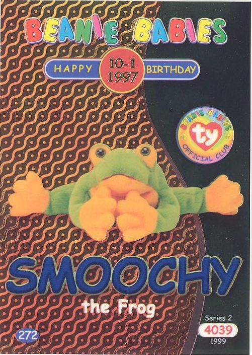 b39cdc6180d TY Beanie Babies BBOC Card - Series 2 Birthday (BLUE) - SMOOCHY the Frog   BBToyStore.com - Toys
