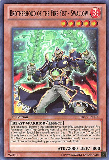Yu-Gi-Oh Card - CBLZ-EN027 - BROTHERHOOD OF THE FIRE FIST ...